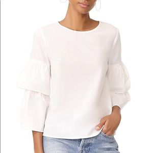Madewell White Poplin Tiered Sleeve Top size S